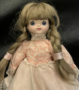 """8"""" Porcelain Cloth Girl Doll, Blue Eyes, Pigtails Dress Russ Berrie and Company"""