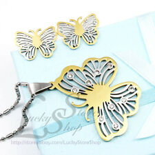 Set Fashion Stainless Steel Butterfly Pendant Necklace Earrings Gorgeous Girl S1