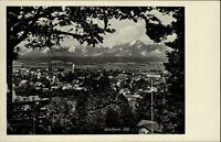 Weilheim Oberbayern alte Postkarte ~1930/40 Gesamtansicht Panorama mit Alpen