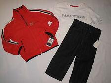 NWT $74.50 NAUTICA 3pc set T shirt, jacket, jean BOY size 2T orange