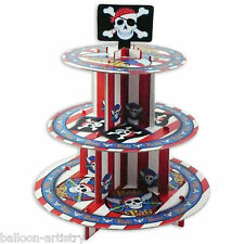 35cm partito Pirata Red Stripe livello 3 CARD Torta Cupcake Stand