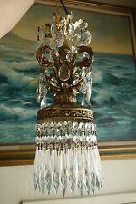 Vintage ROCOCO Spelter brass Swag plugin Lamp Crystal Chandelier Pendant kitchen