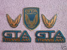 NEW 91-92 GTA Trans Am Emblem 5pc Set (QUASAR BLUE)