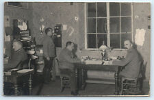 ANTIQUE Vintage WW1 GERMAN Real Photo RPPC Postcard OFFICERS WITH CAMP TELEPHONE