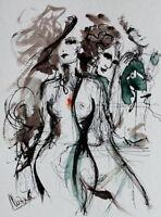 "ART-BOXXX ""THE RIVAL"" Original Tuschezeichnung /30x40cm AKT abstrakt Frau Bild"