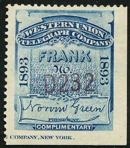DR JIM STAMPS US SCOTT 16T23 WESTERN UNION FRANK 1893 UNUSED OG HINGED