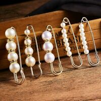 Charm Women Crystal Dangle Pearl Brooch Pin Collar Clip Wedding Bride Jewelry
