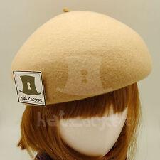 FASHION Wool Felt Women Soft Beret Hat Ladies Pillbox ROYAL Party | 56cm | Beige