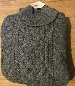 Traditional 100% Wool Aran Polo Roll Neck Cable Knit Jumper Knit Made in England