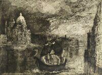 Domenico Faro (1924-2008) Incisione acquaforte Firmata 1990 P.A. Venezia Venice