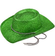 12x COWBOY GREEN GLITTER HAT w/CHORD - ST PATRICKS DAY IRELAND ADULT FANCY DRESS