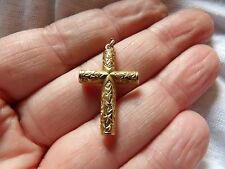 EDWARDIAN FULLY HALLMARKED, ENGRAVED 9 CARAT GOLD SMALL CROSS PENDANT CHRISTIAN