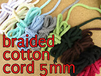 Braided Cotton Cord Cotton String 5mm Drawstring Cord 19colors Rope Craft String