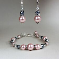Vintage blush pink grey pearl bracelet silver wedding bridesmaid jewellery set