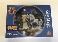 Master Pieces Fairy Magic 500 Piece Jigsaw Puzzle Glow In The Dark Round Unicorn
