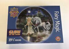 Master Pieces Fairy Magic 500 Piece Jigsaw Puzzle Glow In The Dark Round Unicorn