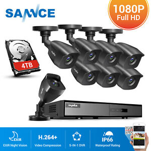 SANNCE 5IN1 5IN1 8CH DVR Outdoor CCTV 3000TVL Camera Home Security System Kit UK