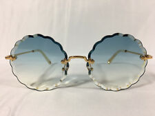 08d4df67b0f Authentic New Chloe Women s CE142S Rosie Gold Round Sunglasses 60mm Blue  Lens