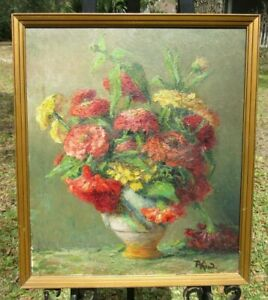 Auguste Kind French Impressionist Floral Still Life Oil on Board Painting Framed