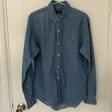Mens Polo Ralph Lauren Blue Denim Shirt | Slim Fit | Medium | Brand New No Tags