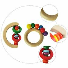 2Pcs Simple Safe Wood Rattle Toy Handbell Toy for Boy Girl Kid