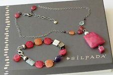 Silpada SET Garnet Amethyst Ruby Jade Bracelet B1060 & Carnelian Necklace N1060