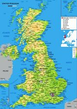MAP OF THE UK  A3 GLOSSY POSTER