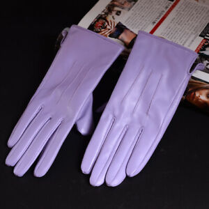 New Womens 100% Real Leather Sheepskin Winter Warm Blue Short Gloves Nine Colors