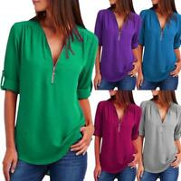 US Women V-Neck Zipper Pleated Loose Shirt Ladies Long Sleeve Summer Tops Blouse