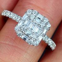 2Ct Baguette & Round Cut Diamond Cluster Engagement Ring 14K White Gold Finish
