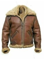 Men's Aviator RAF B3 Flying Bomber Real Fur Shearling Sheepskin Leather Jacket