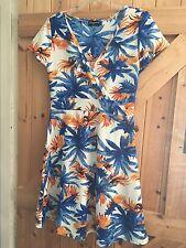 """Lovely Orange Blue White Leafy Dress Size 14 By Indulgence London Chest 38"""""""