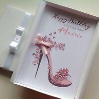 Personalised Handmade Birthday Card GIFT BOX Mum Daughter Sister 18 21 30 40 50
