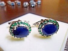 New 925 Sterling Silver Natural Blue Sapphire & Natural Emerald Cuff link