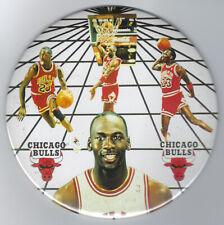 "1988 Michael Jordan DUNK 6"" photo button HUGE pin rare original Chicago Bulls"