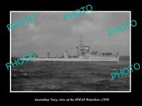 OLD POSTCARD SIZE PHOTO OF AUSTRALIAN NAVY SHIP HMAS WATERHEN c1950