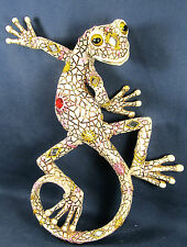 Gecko with Jewels & mirrors Decorative Wall Art White Tropical wildlife