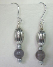 Silver tone and grey bead drop earrings with hook Approx. drop 4.5cm