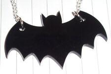 Retro Old school Batman Bat Logo Charm Necklace Kitsch Kawaii black
