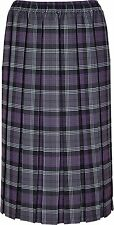 "Ladies/Womens Tartan Box Pleated Skirt, Elasticated Waist, 27"" Length"