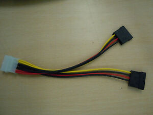 Molex LP4 to Dual 15 Pin SATA Power Connections - PC Power Supply Connector