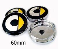 *NEW* 4x 60mm SMART YELLOW Wheel Center Caps Logo Hub Caps Rim