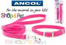 PUPPY COLLAR LEAD SET ANCOL SOFTWEAVE in RASPBERRY FOR PET