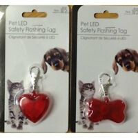 Rojo de Hueso o Forma Corazón Mascota Perro LED Seguridad Parpadeante Placa