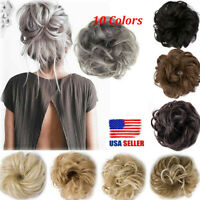 NEW Real Natural Curly Messy Bun Hair Piece Scrunchie Hair Extensions as Human