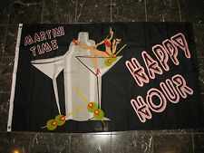 3x5 Advertising Happy Hour Martini Time Party Drinking Flag OUTDOOR INDOOR 3'x5'