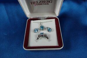 Helzberg Blue Topaz Lab Created Wh Sapphire Ring S 7.5, Earrings, Pendant Set