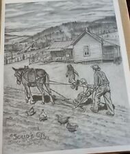 Joseph R. Vick Signed Numbered Print Soup's On Bible Verse John 6:35 Horse Plow