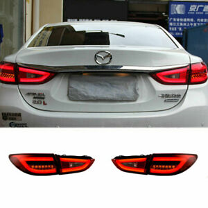 LED Taillights Assembly For Mazda6 Atenza Dark/Red Replace OEM Rear lights 14-17