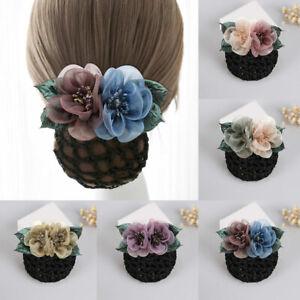 Fashion  Crystal Headband Bun Net Bow Hair Clips And Muslim NetHair Accessories